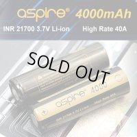 Aspire - INR21700 リチウム充電池【フラットトップ/4000mAh/MAX40A】